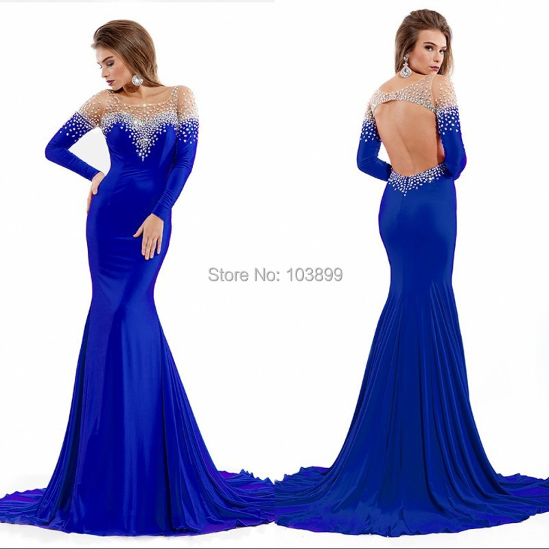 Royal Blue Sheer Neck with Crystals Court Train Party Gowns Backless ...