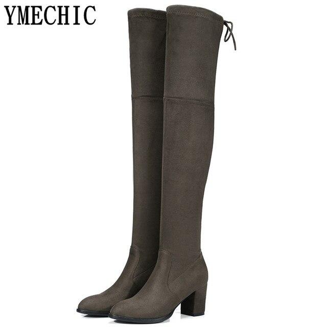 f64497d64ba3 YMECHIC grande taille Longue Plus de bottes hautes Femme Dames chaussures  de femme Noir Gris Vert