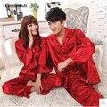 Шелковые Пижамы Женщин Красный Дамы Жениться Пижамы Любителей Мужские шелковый Атлас Пижамы женская Сна Lounge Pajama Наборы Плюс Размер 3XL