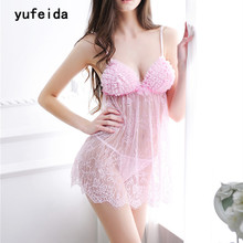 YUFEIDA New Women's Baby Doll Sexy Lingerie Sexy Hot Erotic Suits Costume Pink Lace Lingerie Dress Exotic Nightdress Sleepwear