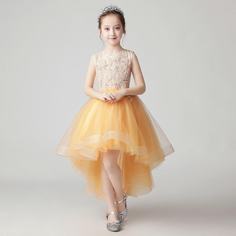 Luxury Yellow Beading Flower Girl Dresses Wedding Short Front Long Back Girl Formal Dress Ball Gown Princess Birthday Dress B424