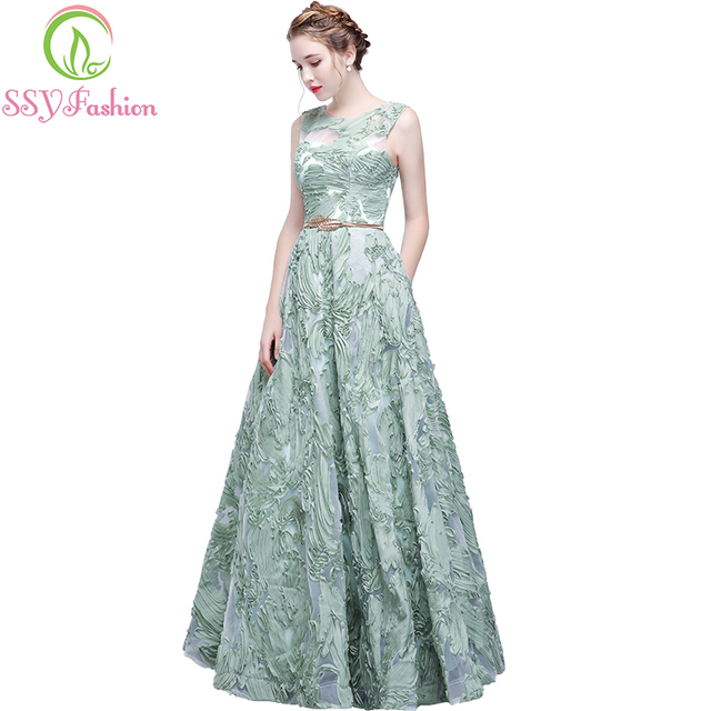 The Banquet Elegant Evening Dress SSYFashion New Fresh Green Lace  Sleeveless Floor-length Prom Party d5bfb6fc7764