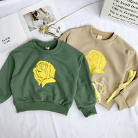 Fashion Korean Baby Girl Cotton T Shirt Printed Flowers Design Bowknot Long Sleeves Sweatshirt For Girl