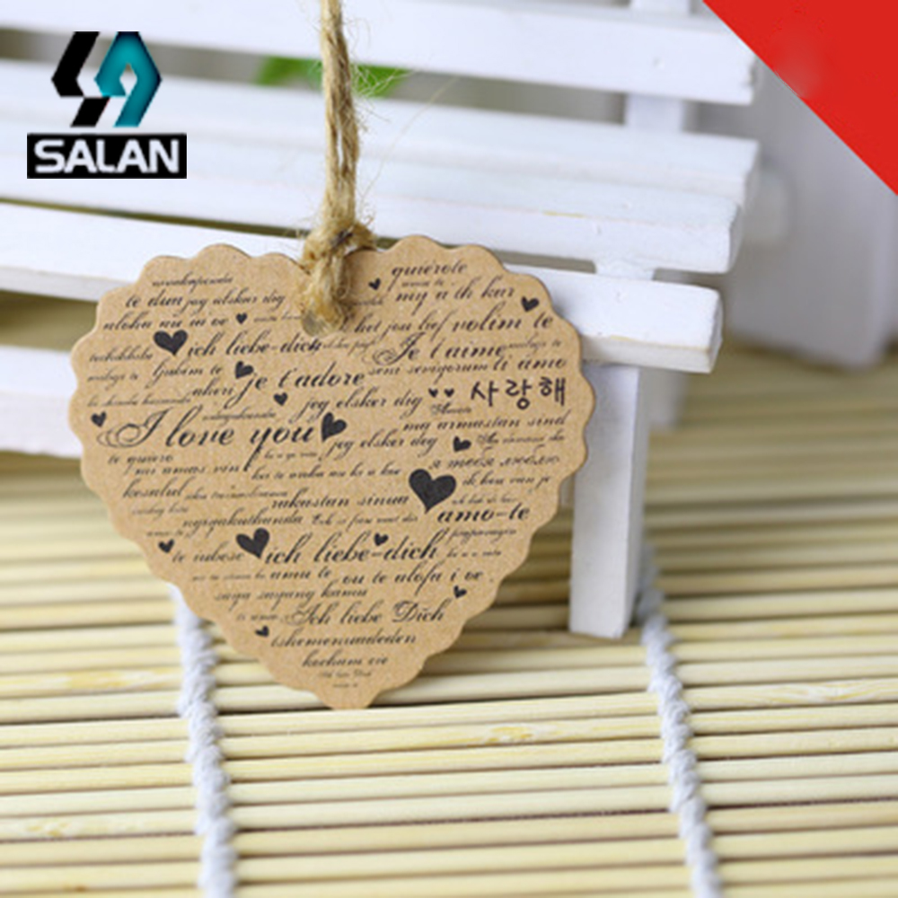 Retro kraft paper tag spot love design patterns men and women clothing jeans universal listing spot