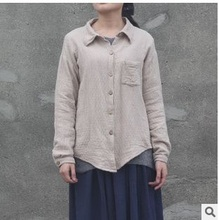 New product release in the summer of 2015, the original design 100% cotton linen loose big yards of women's shirt