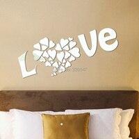 كبيرة الحجم الحلو قلب الحب جدارية الاكريليك مرآة الحائط ملصقا 3d diy تزيين المنزل لغرفة النوم غرفة المعيشة 90x50 سنتيمتر