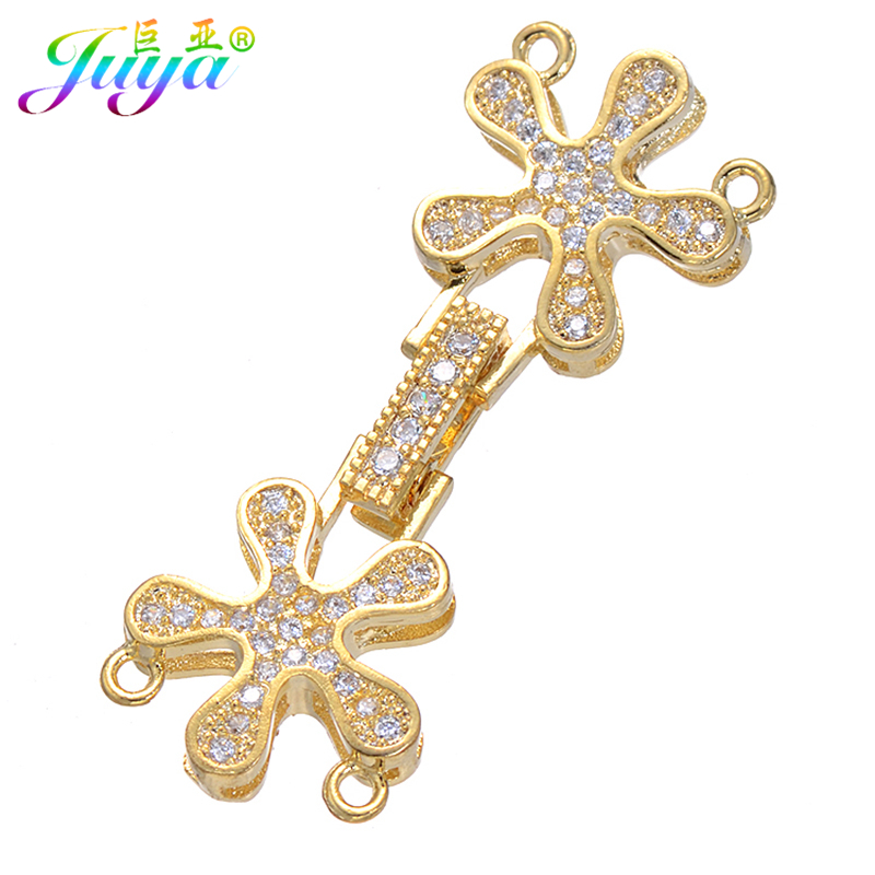 Handmade Jewelry Components Gold Clousure Fastener Pearls Clasp Accessories For Women 2 Rows Pearls Natural Stone Jewelry Making