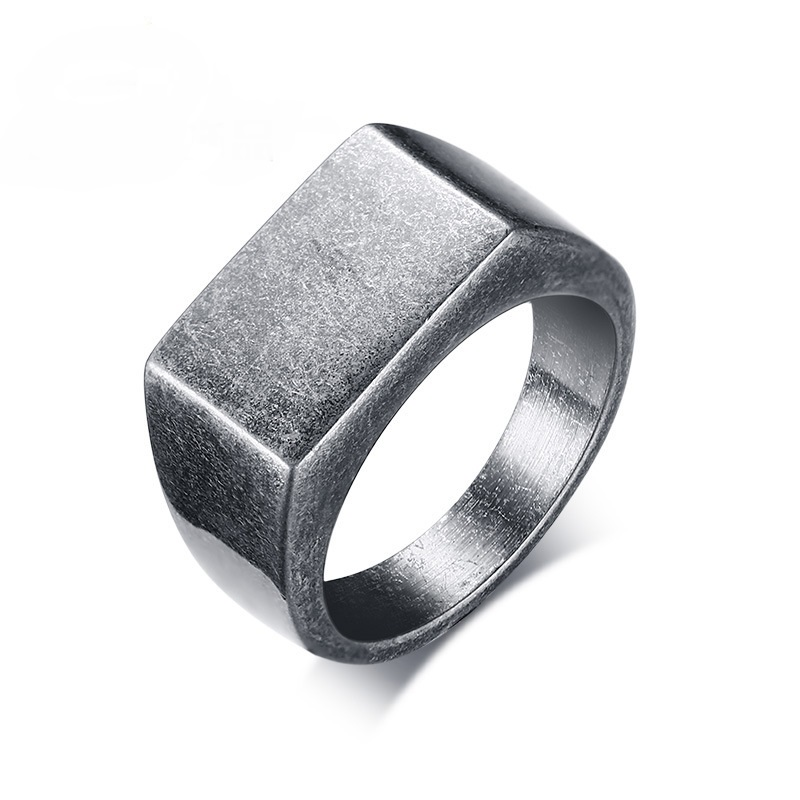 J.K 10mm Men Jewelry Titanium Ring Brief Design Fashion 316L Stainless Steel Punk Ancient silver Ring Wedding Engagement Ring