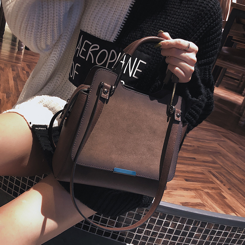 2018 High Quality Matte PU Leather Vintage Handbags Women's Designer Simple Handbag The Big Women's Large Handbags Shoulder Bags