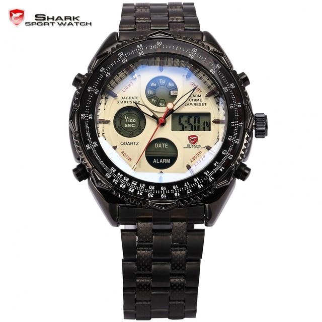 Eightgill Shark Sport Watch Dual Time Digital White Analog Black Stainless Steel Strap Chronograph Quartz Men's Timepiece /SH114