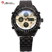 Original Shark Dual Time Digital Analog Black Stainless Steel Stopwatch White Dial Quartz Wrist Men S