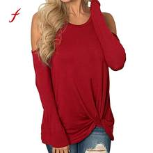 b4db3ebcae638 (Ship from US) Feitong 2018 Plus Size Clothes S-2XL Women Autumn Cold  Shoulder Blouses Long Sleeve Strappy Solid Loose Tops Roupa Feminina  PY