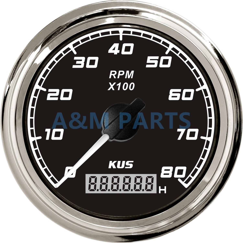 KUS Marine Tachometer Gauge LED Hourmeter Boat RPM Tachometer 12V ...
