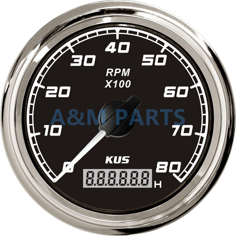 KUS Bateau Tachymètre Avec ÉCRAN LCD Numérique Compteur Horaire de moteur Hors-Bord Marin Diesel Moteur Générateur de Moteur Tachymètre Jauge 12 V/24 V 8000 TR/MIN