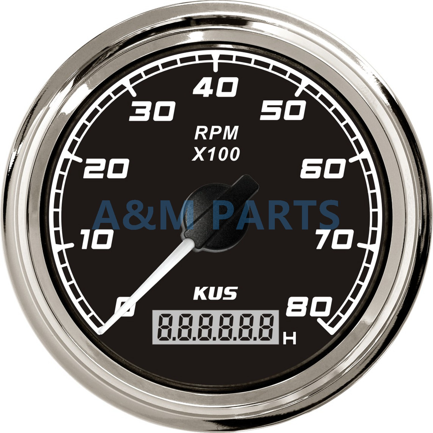KUS Boat Tachometer With LCD Digital Hourmeter Marine Outboard Diesel Engine Motor Generator Tacho Meter Gauge 12V/24V 8000 RPM kus marine outboard tachometer with led hourmeter boat truck car rv waterproof rpm meter 6000 rpm 85mm speed ration 1 10