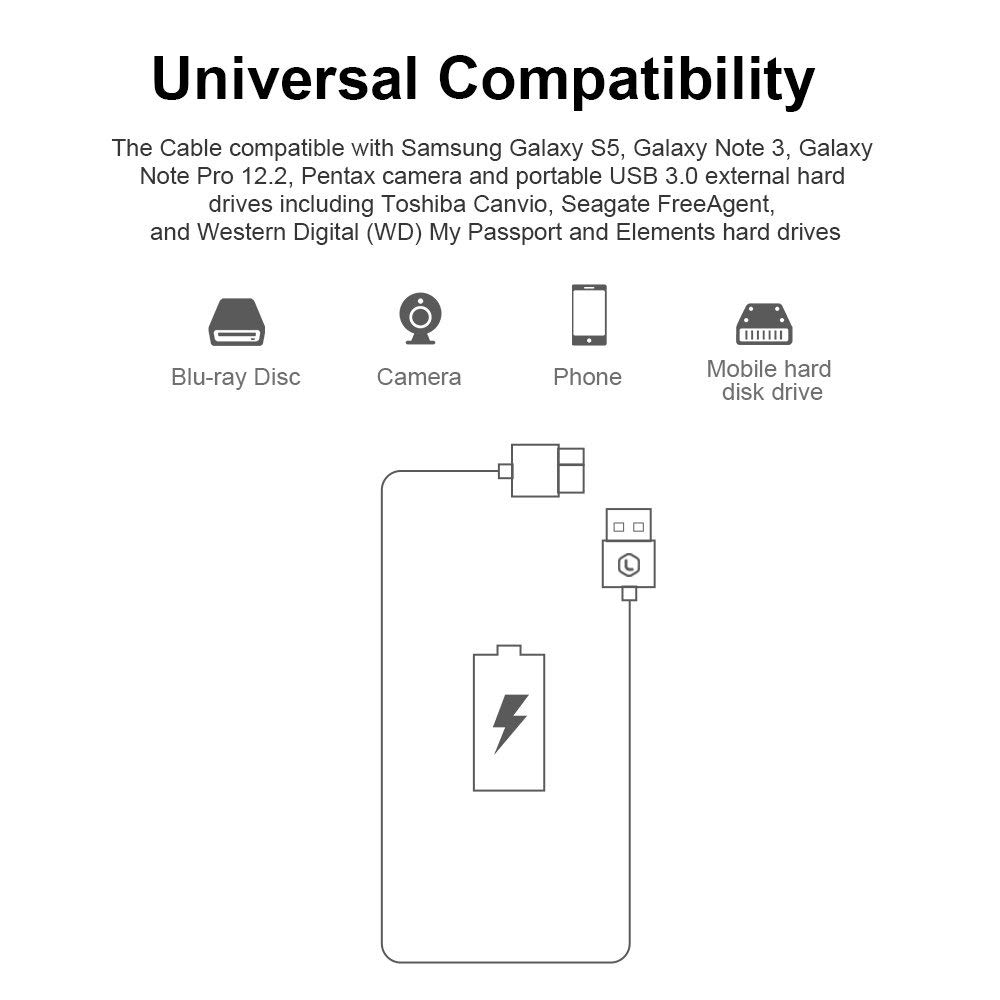 PIHEN USB 3.0 Type A to Micro B Extension HDD Cable External Hard Drive Disk for Samsung S5 Chromebook Note3 USB HDD Data Cable