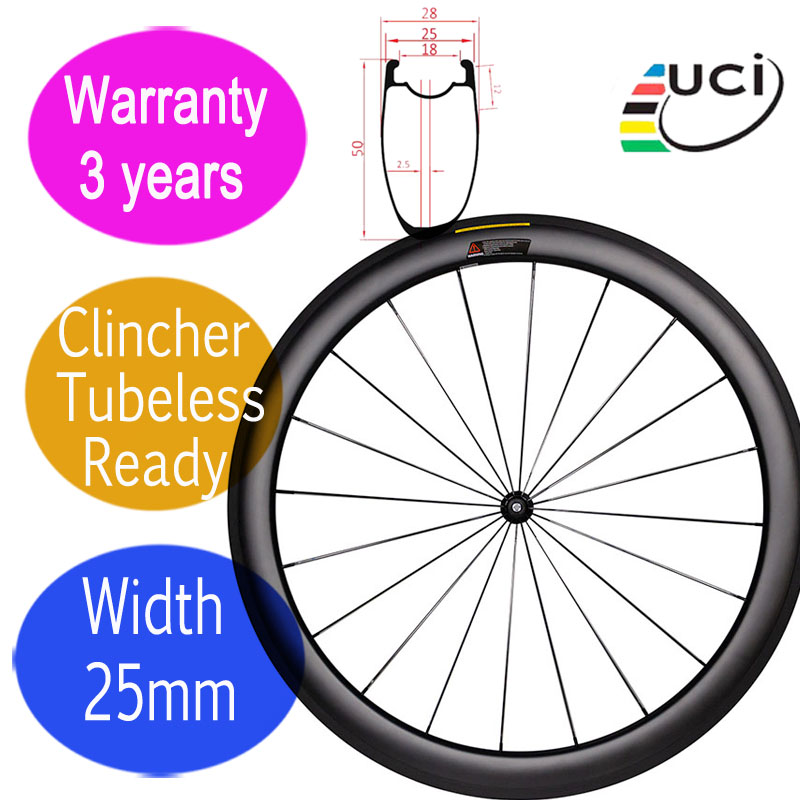 Asymmetrical width 25mm carbon road bike wheels 3 years warranty U shape ceramic hub clincher tubeless carbon racing wheelset