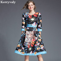 Spring Jacquard Leopard Print Midi Render Dress Runway Dresses 2018 Women High Quality Vintage Dress Kerst
