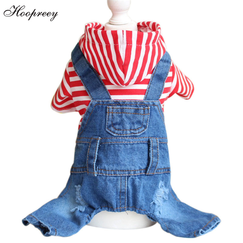 Pet Dog Clothes Blue Red Striped Jeans Jumpsuits One piece Jacket Apparel Hoodie Overalls Coats for
