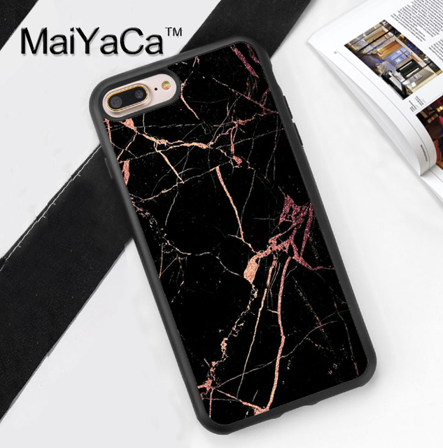 info for b2d4b 493ee US $4.44 5% OFF|MaiYaCa Black with rose gold Marble Cases Cover For iPhone  7 Plus Soft TPU Rubber Case for iPhone 7plus phone bag coque capa-in Fitted  ...