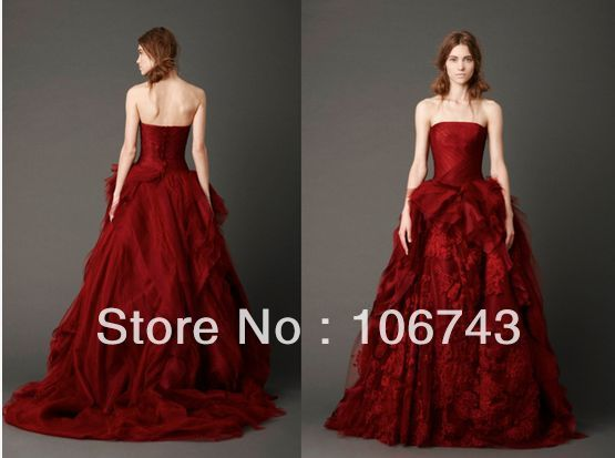 free shipping 2016 new style popular design Sexy sweetheart princess Custom tiered red bridal ball gown lace wedding dress
