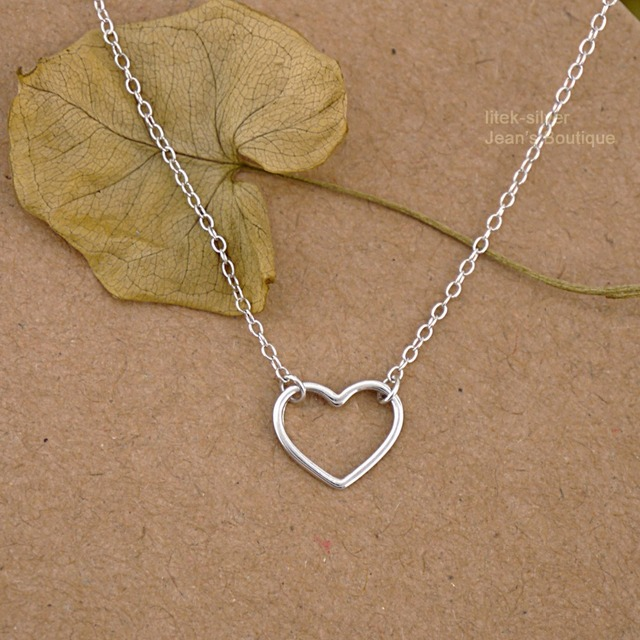 925 Sterling Silver Simple Plain Thin Heart Charm Pendant Necklace A2323