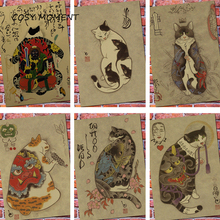Cat Cafe Japanese Samurai Cat Vintage Poster Retro Cat Cafe Room Wall Decorative Painting Poster