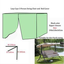 Darmowa wysyłka leniwy Caye 3 osoby huśtawka krzesło i narzuta na łóżko  190x120x165 cm ochronna pokrywa dla huśtawki ogrodowe  kolor czarny