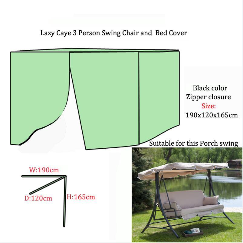 Δωρεάν αποστολή Lazy Caye 3 Πρόσωπο Swing καρέκλα και κρεβάτι κάλυμμα, 190x120x165cm προστατευτικό κάλυμμα για κούνιες στον κήπο, μαύρο χρώμα