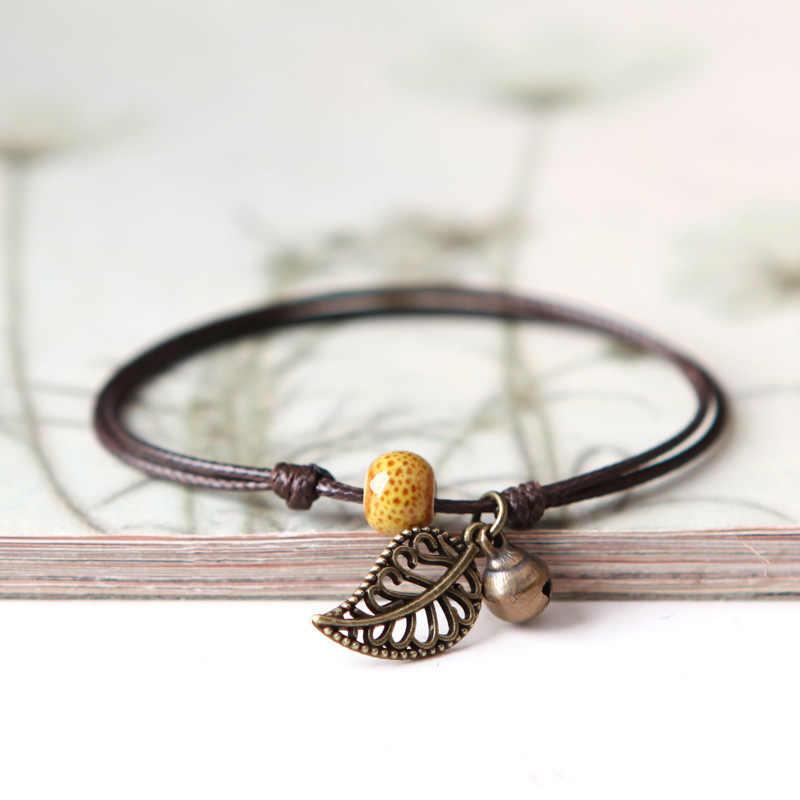 1 uds, nuevas pulseras de cerámica simples ajustables a la moda, tobilleras femeninas originales tejidas a mano, tobilleras de moda, joyería de cerámica con hojas