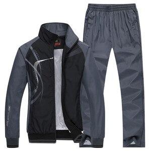 Image 3 - Mens Sportswear New Spring Autumn 2 Piece Sets Sports Suit Jacket+Pant Sweatsuit Male Print Clothing Tracksuit Size L 5XL