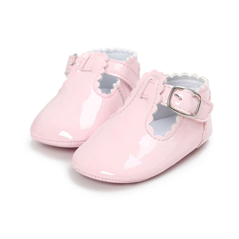 KEOL Best Sale Newborn Baby Girl Bow Anti-slip Crib Shoes Soft Sole Sneakers Prewalker 0-6M S pink