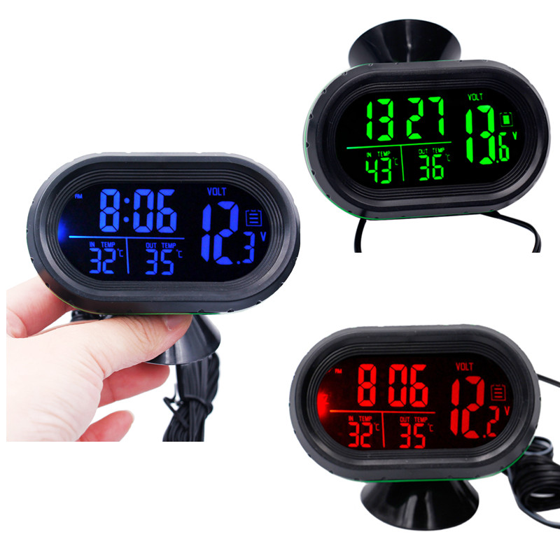 Digital 12V / 24V Auto Car Thermometer Voltmeter Voltage Tester Clock Temperature Meter LCD display with backlight 10%