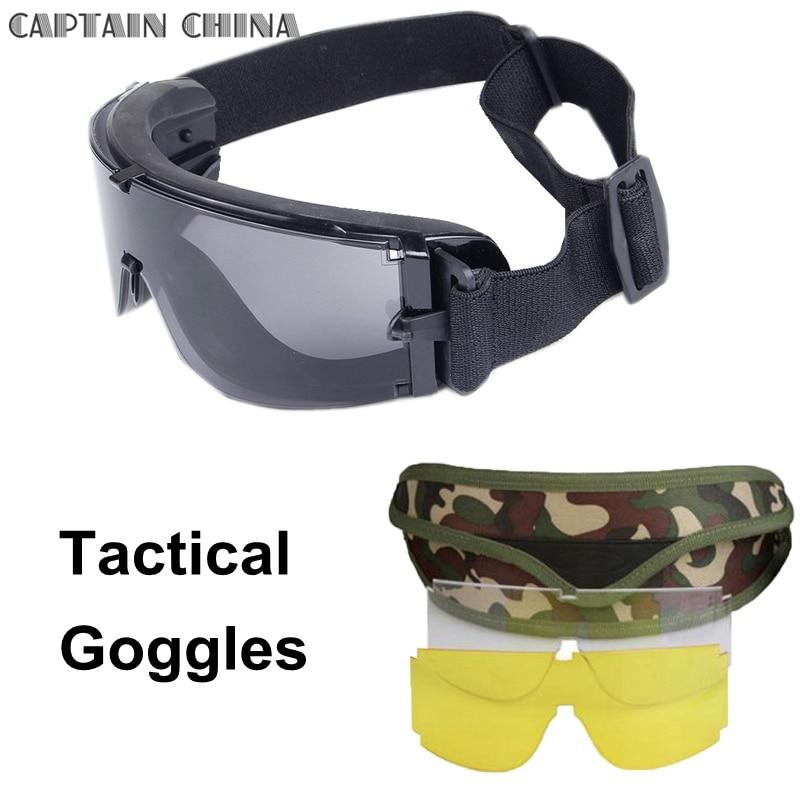 Black Tan Green Military Tactical Gogle Airsoft Okulary Outdoor - Ubrania sportowe i akcesoria - Zdjęcie 2