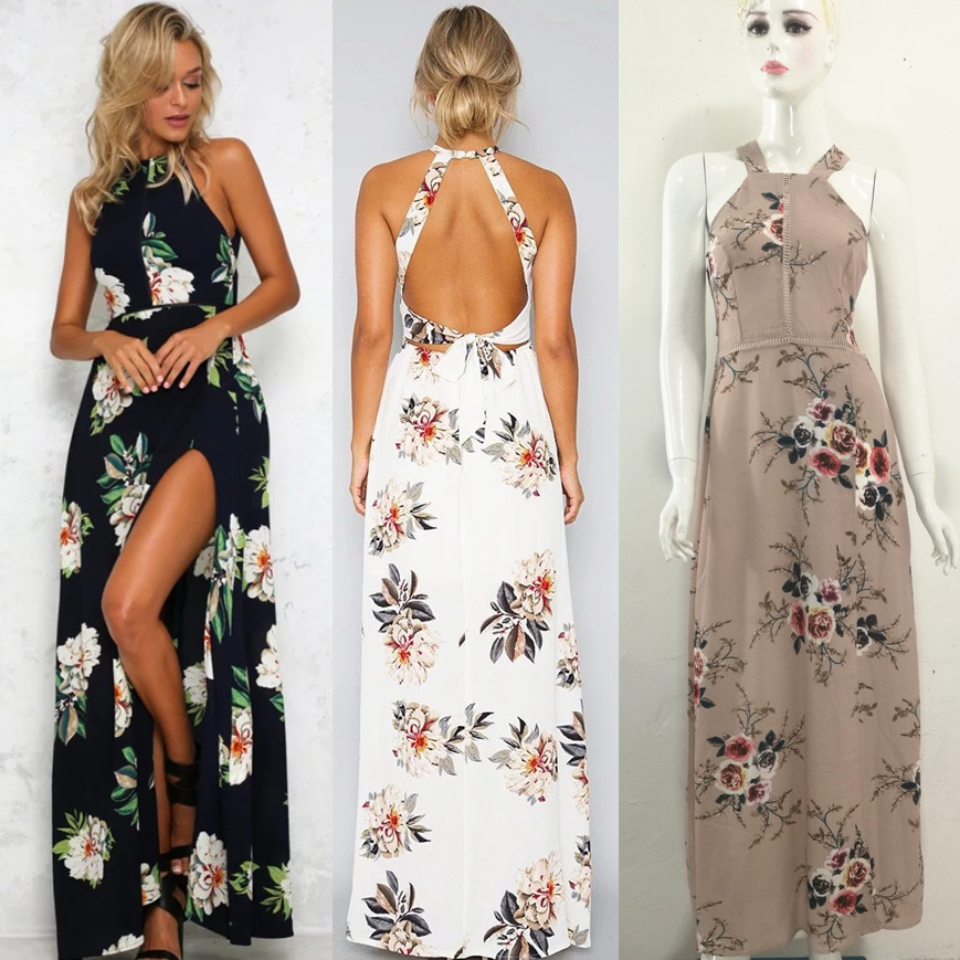 b153ced3cdc Summer Women Beach Long Dress Sleeveless Halter Floral Print Retro Backless Bohemian  Maxi Dresses LD030-in Dresses from Women s Clothing on Aliexpress.com ...