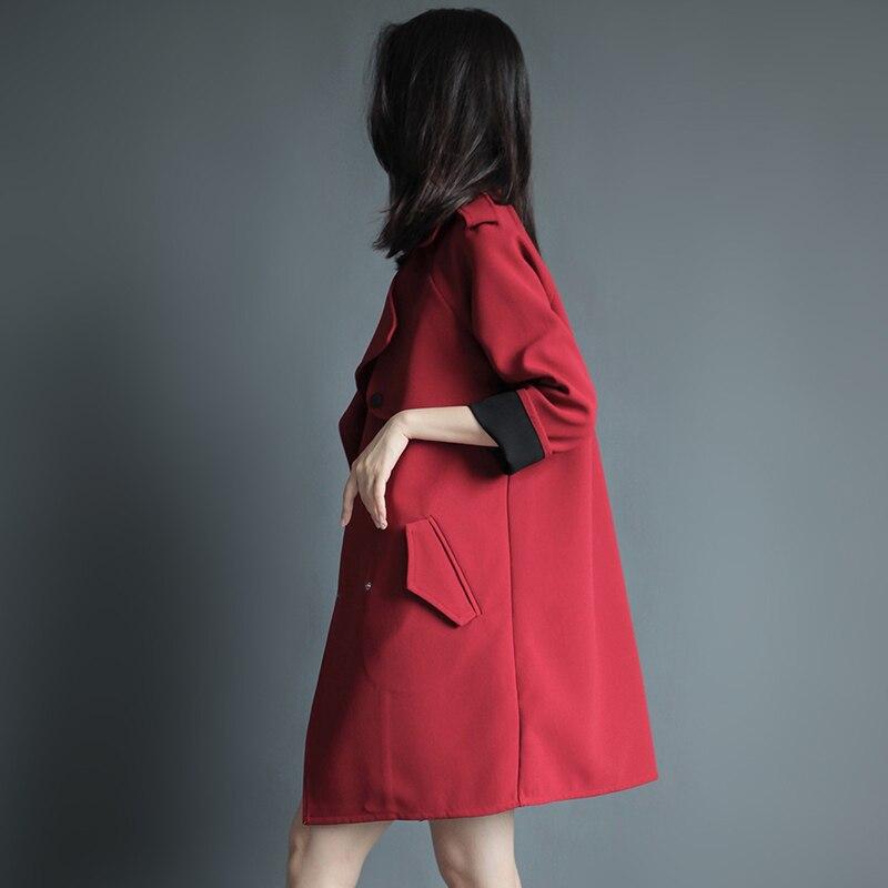 Boutonnage Trench vent À Printemps Tempérament Black red Automne Femmes Mince 2019 Double Coupe Lâche Pardessus Femelle Vêtements Casual 4v8nYAv