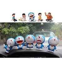 Doraemon Jingle Cat Action Figure Cute expression Smile Robot Cat Car Decoration Kids Toy Gift Movie Stand By me Figurine 5pcs