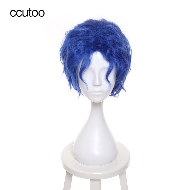 """ccutoo sort / séjour nuit Matou Shinji 12 """"bleu court bouclés cheveux synthétiques duveteux haute température fibre fibre Cosplay perruques"""