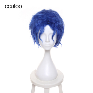 """ccutoo Fate/stay night Matou Shinji 12"""" Blue Short Curly Men's Fluffy Synthetic Hair High Temperature Fiber Cosplay Cos Wigs"""
