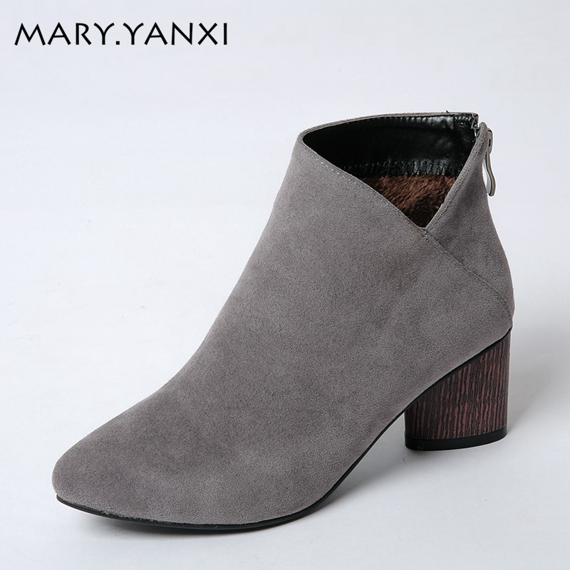 Big size 34-43 women shoes Nubuck Leather Pointed Toe Fashion Boots Pointed Toe high heels ankle boots solid Winter Martin boots winter women shoes ankle martin boots chelsea boots pointed toe thin high heels big size fashion solid rivet slip on fleeces