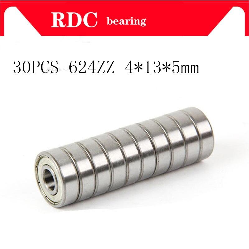 30PCS ABEC-5 624ZZ 624Z 624 ZZ 4x13x5MM Wire Cutting Machine Miniature R-1340HH High Quality Deep Groove Ball Bearings