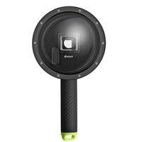 ATEŞ 6 inç Dalış Gopro Hero 4 3 + Hero 4 için Dome Portu gümüş ile Siyah Eylem Kamera Git Pro GoPro Şamandıra Kavrama Kubbe Objektif