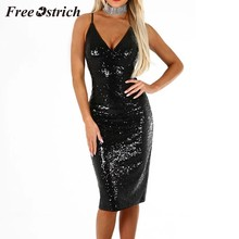 Free Ostrich 2019 Sexy Womens Formal Cocktail Party Sequins Sparkly Bodycon Midi Pencli Dress Bling Blabk Sheath Dress New(China)