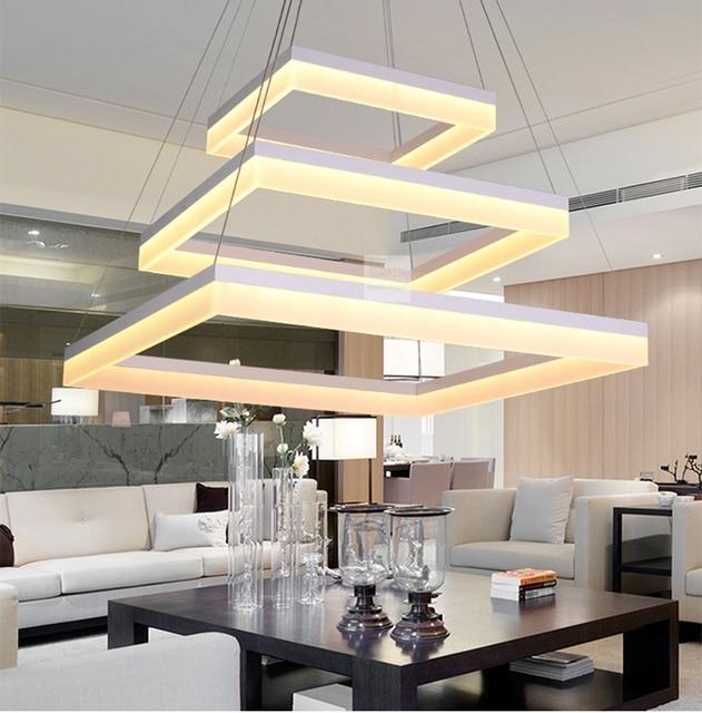 Moderno cuadrado de acrílico LED colgante luz salón lámpara colgante ...
