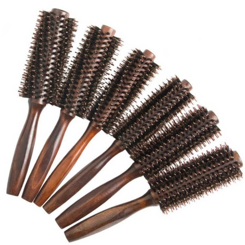 6 Types Straight Twill Hair Comb Natural Boar Bristle Rolling Brush Round Barrel Blowing Curling DIY Hairdressing Styling Tool