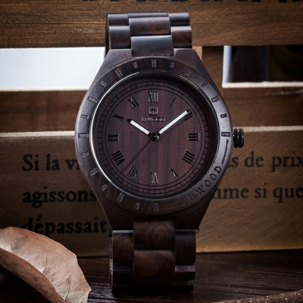 18 Hot Sell Men Dress Watch QUartz UWOOD Mens Wooden Watch Wood Wrist Watches men Natural Calendar Display Bangle Gift Relogio 12