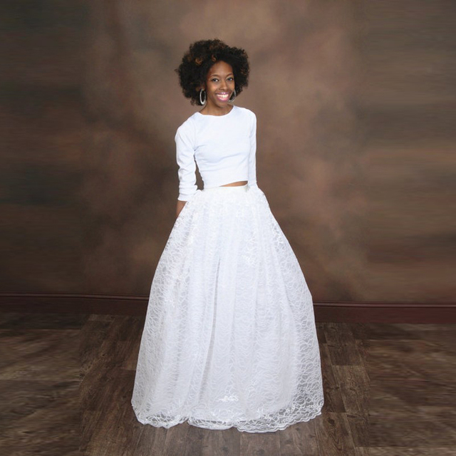 bade99b02 Exquisite White Lace Tulle Skirt Customized Ribbon Zipper Waistline A Line  Floor Length Full Maxi Skirt Long Skirts Adults