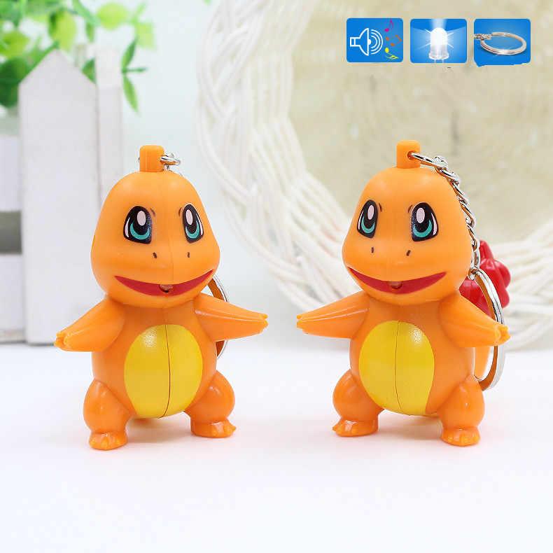 """트렌디 게임 포켓몬 피카추 charmander bulbasaur 3d led 키 체인 손전등과 소리 """"i love u"""" 귀여운 애니메이션 만화 장난감 키"""