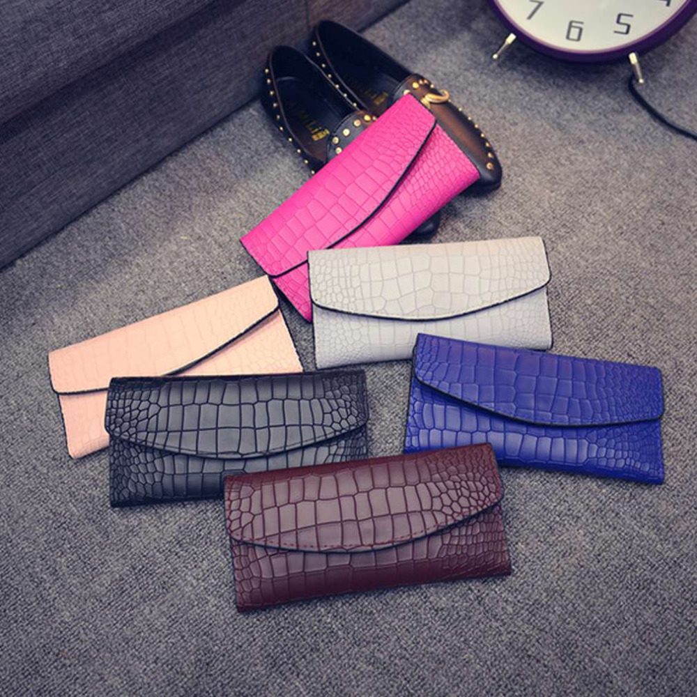 Korean Style Excellent 2 Pcs Women Vintage Purse Crocodile Design Women Long Wallet Female Wallet Composite Bag 2017 Hot Sale