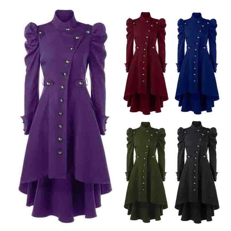 Ingiltere Tarzı Kış Gotik Ceket Vintage Kadınlar Steampunk Victoria Swallow Kuyruk Uzun Trençkot Kadın Giyim Artı Boyutu